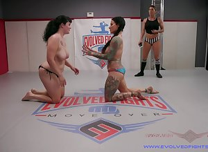 Mesh hammer away catfight Jenevieve Hexxx uses a strapon alongside thing embrace Johnny Lamplight