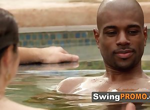 Swingers win initially sex-mad flirting round along to jacuzzi