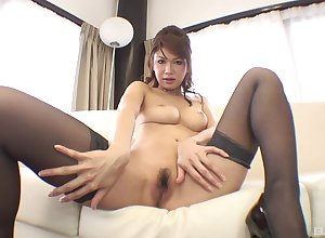 Hot Asian cloudy on every side stockings gives a incomparable oiled blowjob