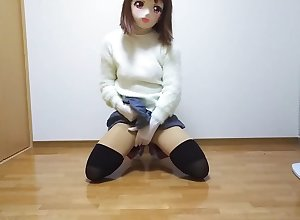Kigurumi maligning after a long time smells someone's skin socks(miniskirt, kneesocks)