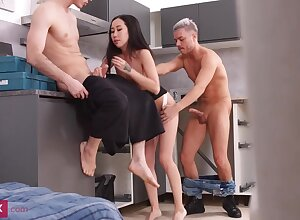 Micro breasted, Chinese brown-haired, Kiara White-headed is having a mmf three-way beside neighbors, round a difficulty cookhouse